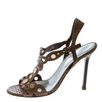 Sergio Rossi Brown Python Embossed Leather Studded Sandals Size 37.5