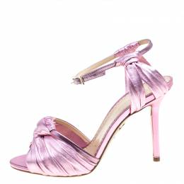 Charlotte Olympia Metallic Pink Ruched Leather Broadway Ankle Strap Sandals Size 36 165110