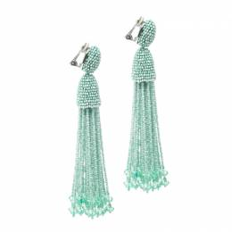 Oscar De La Renta Sea Green Beaded Tassel Long Clip-on Earrings 169942