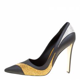 Rene Caovilla Tri Color Leather Crystal Embellished Detail Pointed Toe Pumps Size 41 169960