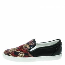 Dsquared2 Black Embroidered Fabric And Leather Slip On Sneakers Size 36 170123