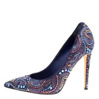 Enio Silla For Le Silla Blue Crystal Embellished Suede Pointed Toe Pumps Size 39