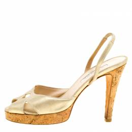 Oscar De La Renta Metallic Gold Leather Cork Heel Platform Slingback Sandals Size 37.5 170444
