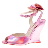 Sophia Webster Metallic Pink Holographic Leather Rizzo Ankle Strap Chrome Wedge Sandals Size 39