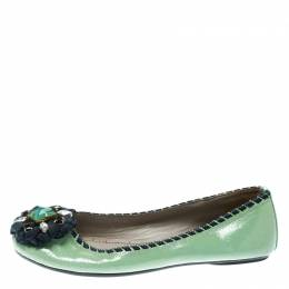 Marc By Marc Jacobs Green Patent Leather Embellished Round Toe Ballet Flats Size 36 175437