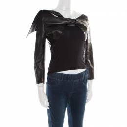 Dsquared2 Black Leather Twist Front Cropped Jacket L 177323
