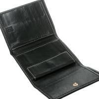Carolina Herrera Black Monogram Leather Tri Fold Compact Wallet