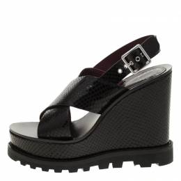 Marc By Marc Jacobs Black Embossed Snakeskin Leather Irving Cross Strap Wedge Sandals Size 38 179622
