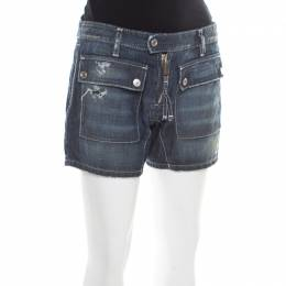 Dsquared2 Blue Faded Effect Distressed Denim Zip Front Shorts L 177069