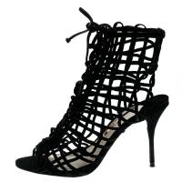 Sophia Webster Black Suede Delphine Peep Toe Cage Sandals Size 38.5