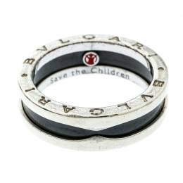 Bvlgari Save the Children 1-Band Black Ceramic Silver Ring Size 58 178335