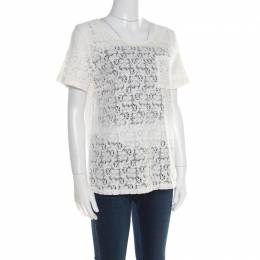 Marc By Marc Jacobs Off White Floral Lace Short Sleeve Top M 181853