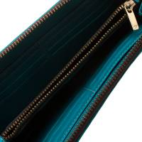Carolina Herrera Blue Monogram Leather Zip Around Wallet