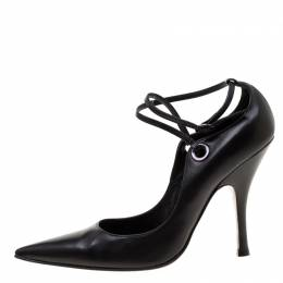 Casadei Black Leather Pointed Toe Ankle Strap Pumps Size 40 182385
