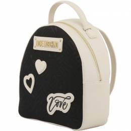 Love Moschino Two Tone Signature Fabric and Faux Leather Backpack 183406