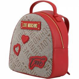 Love Moschino Two Tone Signature Fabric and Faux Leather Backpack 183409