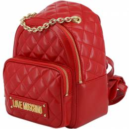 Love Moschino Red Quilted Faux Leather Chain Handle Backpack 183382