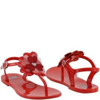 Love Moschino Red Rubber Flower Flat Thong Sandals Size 40