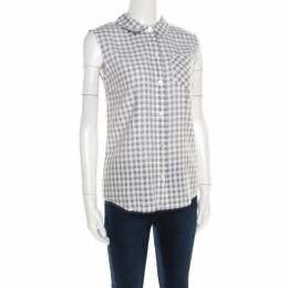 Marc By Marc Jacobs Grey and White Gingham Checked Cotton Sleeveless Shirt S 184274