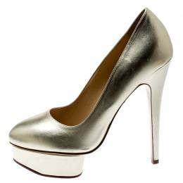 Charlotte Olympia Metallic Gold Leather Dolly Platform Pumps Size 39.5 186935