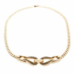 Dior Crystal Encrusted Entwined Pendant Gold Tone Choker Necklace 192968