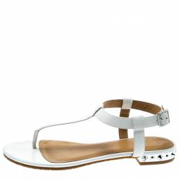 Marc By Marc Jacobs White Leather Avrum Studded Thong Sandals Size 36 192996