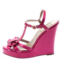 Valentino Pink Leather T-Strap Bow Detail Wedge Sandals Size 39.5