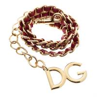 Dolce & Gabbana Red Interlaced Leather Gold Tone Chain Belt