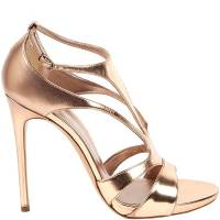 Casadei Gold Leather Strappy Sandals Size 36