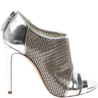 Casadei Silver Leather Peep Toe Sandals Size 39
