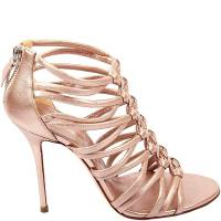 Casadei Gold Leather Strappy Cage Sandal Booties Size 37