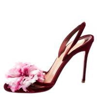 Christian Louboutin Red Velvet Flower Detail Slingback Sandals Size 38.5