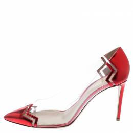 Nicholas Kirkwood Red Metallic Leather And PVC Pointed Toe Pumps Size 40 194989