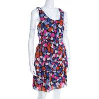 Marc By Marc Jacobs Abstract Floral Printed Silk Tiered Sleeveless Dress M