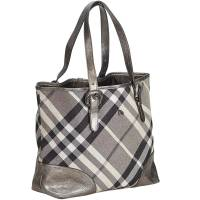 Burberry Gray Canvas Supernova Check Tote Bag