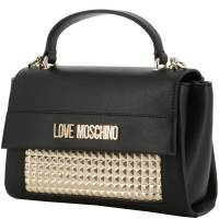 Love Moschino Black/Gold Faux Leather Top Handle Bag
