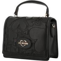 Love Moschino Black Faux Cut-Out Perforated Leather Top Handle Bag