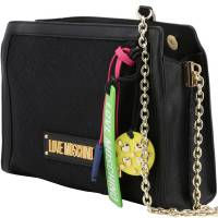 Love Moschino Black Signature Canvas and Faux Leather Crossbody Bag