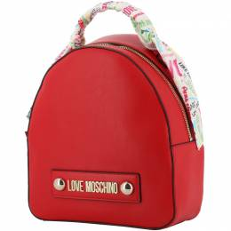 Love Moschino Red Faux Leather Scarf Backpack 196193