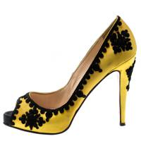 Christian Louboutin Yellow Satin And Black Lace Embroidered Very Prive Peep Toe Platform Pumps Size 39