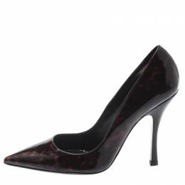 Dsquared2 Brown Tortoise Patent Leather Pointed Toe Pumps Size 39 197694