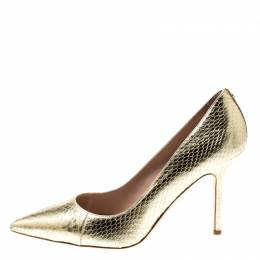 Dsquared2 Metallic Gold Snakeskin Leather Pointed Toe Pumps Size 39 197689