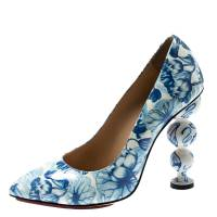 Charlotte Olympia Blue/White Ming Koi Carp Print Patent Leather Pointed Toe Pumps 35.5