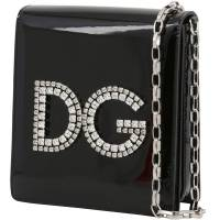 Dolce and Gabbana Black Patent Leather DG Girls Chain Evening Bag