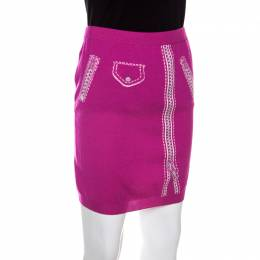 Moschino Couture Pink Wool Biker Optical illusion Mini Skirt S 150537