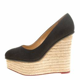 Charlotte Olympia Black Canvas Carmen Espadrille Platform Wedge Pumps Size 39.5 146330