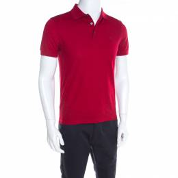 Louis Vuitton Red Cotton Honeycomb Knit Short Sleeve Polo T-Shirt S 197863