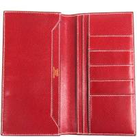 Hermes Red Courchevel Leather Long Wallet 198168
