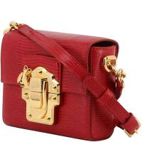 Dolce and Gabbana Red Embossed Leather Lucia Crossbody Bag