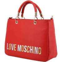 Love Moschino Red Faux Leather Applique Top Handle Bag